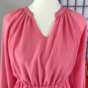 Tobi Dresses - TOBI Salmon Long Sleeve Split Neck Chiffon Dress